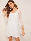 Solid Cami Dress & Appliques Detail Sheer Sleeve Dress